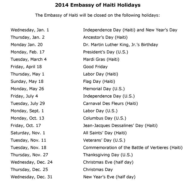 2014 Embassy Holidays
